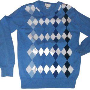 Blue Argyle V Neck Sweater Boy Size Large 10 12